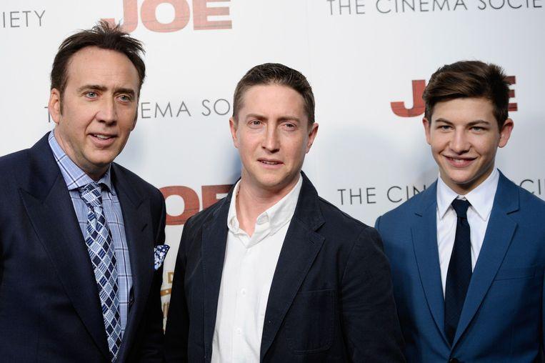 Nicolas Cage, David Gordon Green en Tye Sheridan van de film 'Joe' Beeld anp