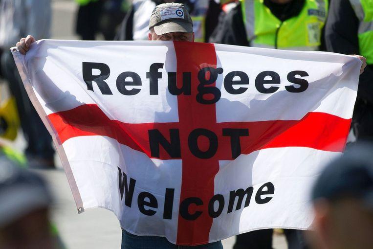 Een demonstrant in Dover, op 28 mei. Beeld anp