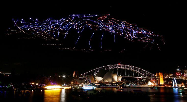 Drones zullen voor spektakel zorgen in Brugge, zoals hier ook in Sydney.