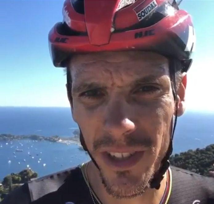 Gilbert tijdens zijn ritje op de Col d'Eze afgelopen zaterdag.