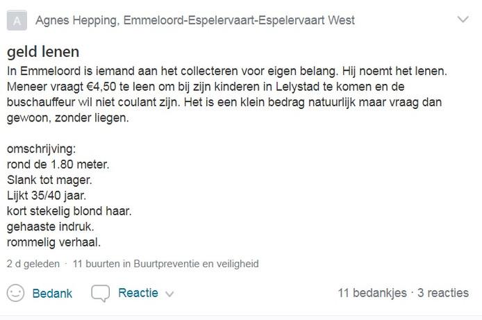 Het bericht van Agnes Hepping over de nepcollectant in Emmeloord op het platform Nextdoor.
