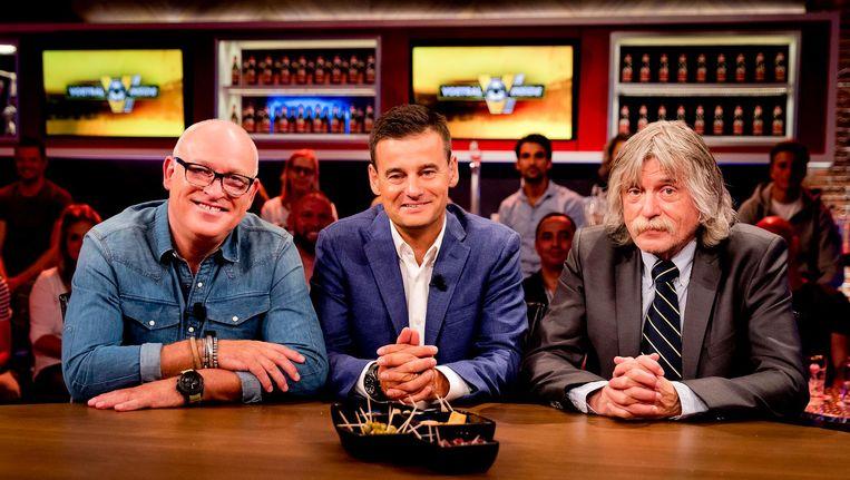 Wilfred Genee, Rene van der Gijp, Jan Boskamp en Johan Derksen tijdens de uitzending van het RTL-programma Voetbal Inside. Beeld anp