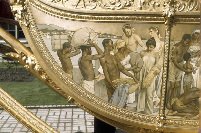 Detail van de omstreden Hulde der Koloniën op de Gouden Koets.
