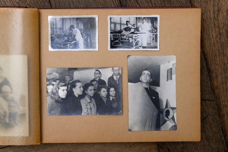 Fotoalbum van Eddy de Wind, met boven foto's van zijn studietijd (voor de oorlog). Linksonder Joegoslavische vrouwen die ook het kamp hadden overleefd. Rechtsonder: De Wind bedankt in Auschwitz het Rode Leger voor de bevrijding. Beeld Els Zweerink