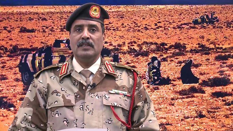 Ahmad al-Mesmari, de woordvoerder van krijgsheer Haftar, verwierp op sociale media een staakt-het-vuren. Beeld AFP