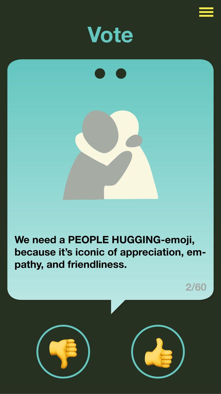 Een screenshot van de Emoji Voter, waarmee je kunt stemmen welke emoji er wel en niet moeten komen. Beeld Emoji Voter
