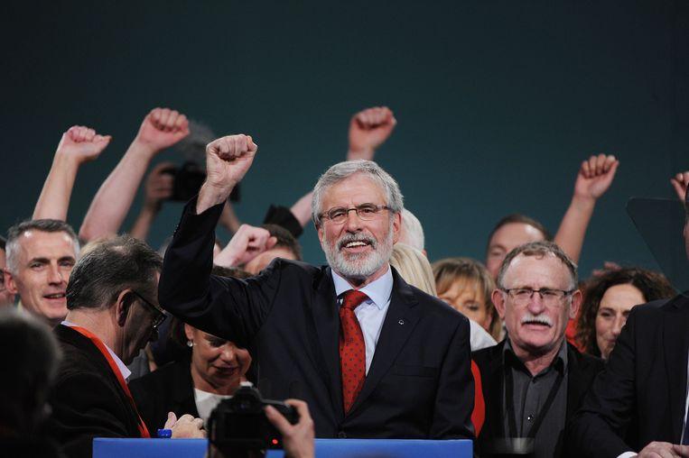 Voorzitter van Sinn Féin Gerry Adams na zijn toespraak op het partijcongres op 18 november 2017.
