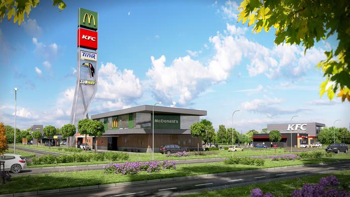 Impressie van het Foodcourt zoals dat op Uden-Noord naast hotel Van der Valk moet verrijzen. De bouw start op zijn vroegst begin 2018.