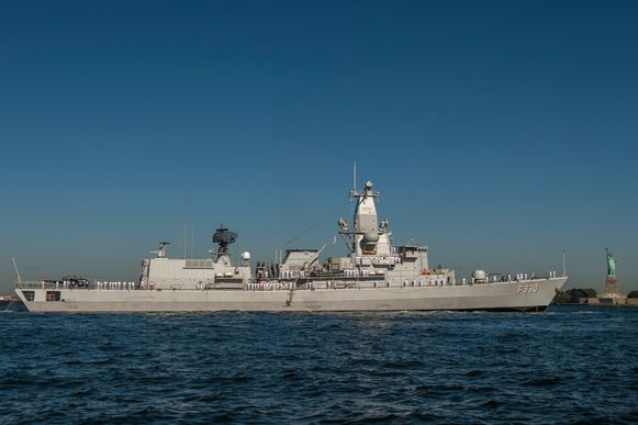 Het fregat Leopold 1, hier in de haven van New York in 2019.