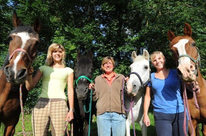 De paarden Bonny, Minka, Carmen en Anouska worden liefdevol verzorgd bij de Stichting Paardenwelzijn Na Gedane Arbeid. Zaterdag viert de stichting haar tienjarig bestaan.foto Edmund Messerschmidt/het fotoburo
