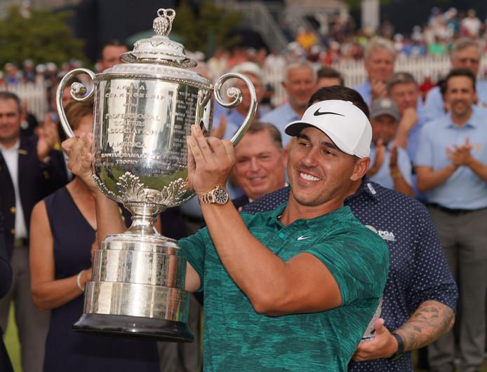 De Amerikaanse golfer Brooks Koepka na de winst van de PGA Championship.
