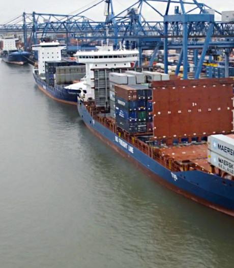 Werknemers containerbedrijf RST in de Rotterdamse haven leggen het werk neer