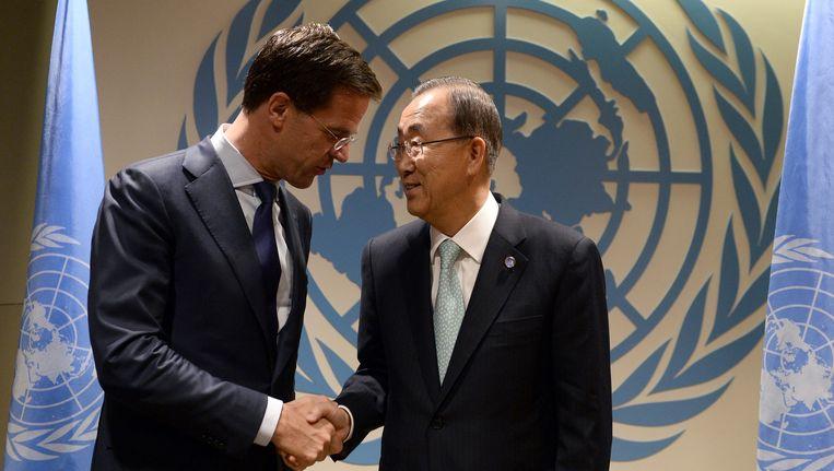 Premier Rutte met Ban Ki-moon deze week. Beeld ap