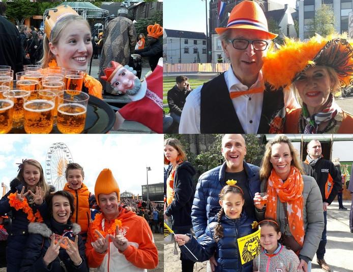 Feestgangers op Koningsdag in Tilburg.