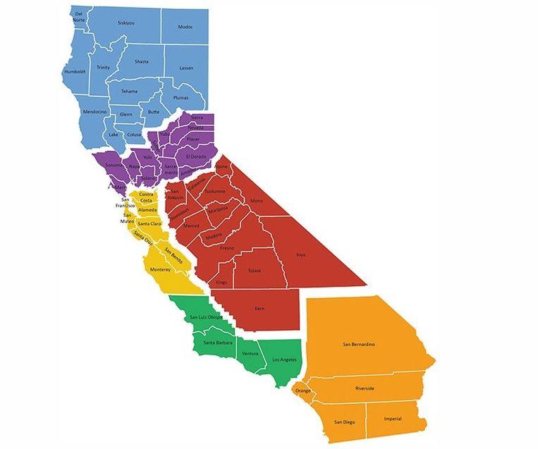 De zes verschillende staten volgens het initiatief van Timothy Draper. Beeld sixcalifornias.com