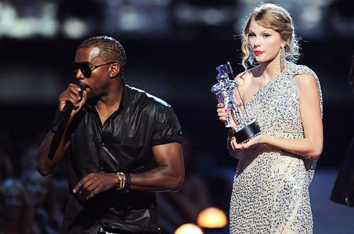 Kanye West en Taylor Swift tijdens de bewuste avond in 2009