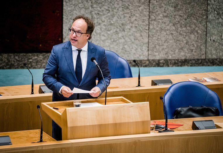 Minister Wouter Koolmees van Sociale Zaken en Werkgelegenheid (D66) tijdens een Tweede Kamerdebat.  Beeld ANP