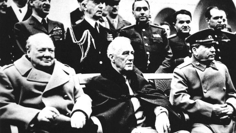 In de buurt van de stad Jalta op de Krim zijn de leiders van de Grote Drie, Roosevelt, Churchill en Stalin, vanaf 4 februari bijeen geweest voor het bespreken van de laatste regelingen vor het eind van de oorlog en de situatie daarna. Beeld anp