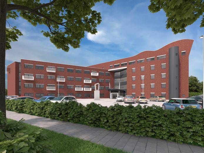 Het voormalige belastingkantoor krijgt na een verbouwing een aantal balkons