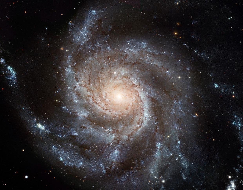 Een recente vondst van een sterrenstelsel dat anderhalf miljard jaar na de oerknal ontstond, suggereert dat platte sterrenstelsels – zoals spiraalstelsel Messier 101, hier op de foto – al eerder ontstonden dan astronomen tot nog toe dachten.