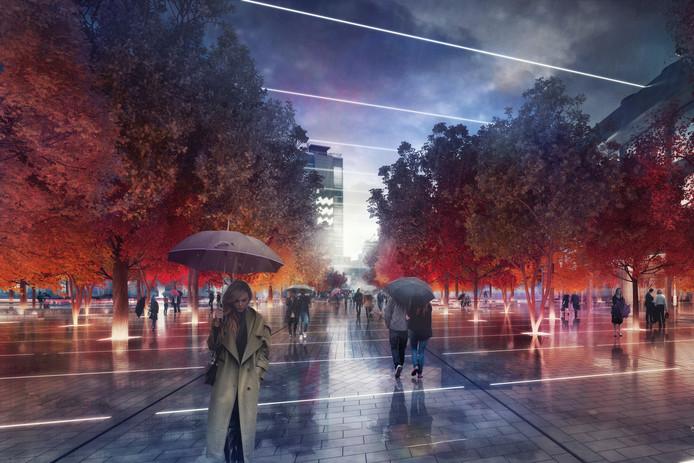 'ZUS | Zones Urbaines Sensibles'. Impressie van het plan District E van projectontwikkelaar/belegger Amvest en bureau Powerhouse Company voor het Stationsplein in Eindhoven.