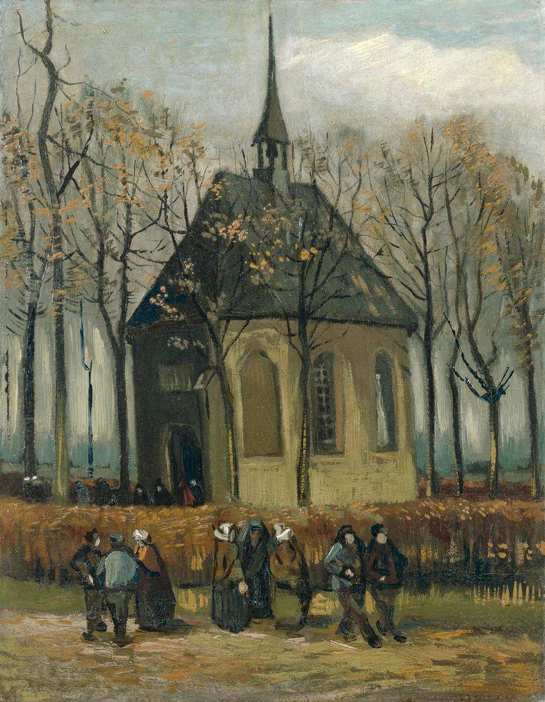 Het uitgaan van de Hervormde Kerk te Nuenen (1884/85). Beeld Van Gogh Museum