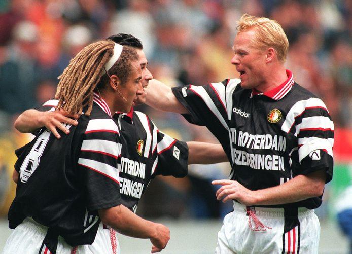 Henrik Larsson (links) en Ronald Koeman (rechts). In 1995-1997 speelden zij samen bij Feyenoord.