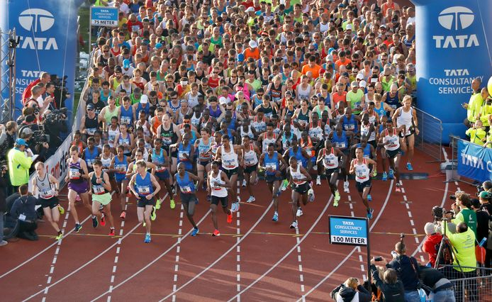 De start van de marathon van Amsterdam in 2017.