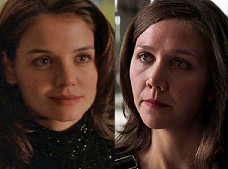 Katie Holmes en Maggie Gyllenhaal in de Batman-films.