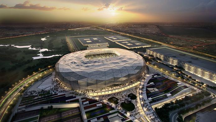 Een gepland stadion in Qatar.