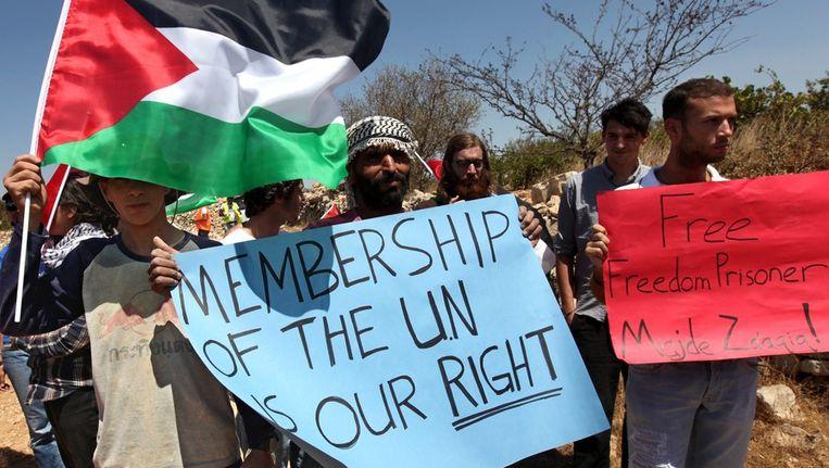 Demonstratie van Palestijnse en buitenlandse activisten in de buurt van een Israelische nederzetting bij Hebron. Beeld epa