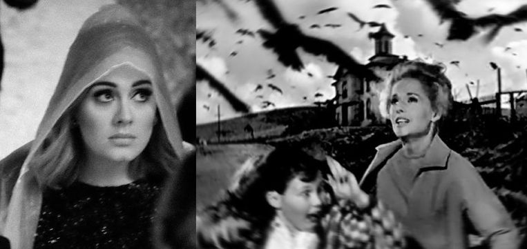 Adele en een scène uit 'The Birds' van Hitchcock.