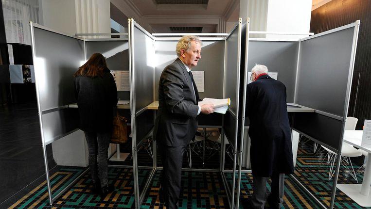Burgemeester Van der Laan tijdens de gemeenteraadsverkiezingen van 2014. Beeld anp