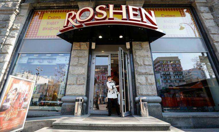 Een winkel van het chocolademerk van Porosjenko Roshen.