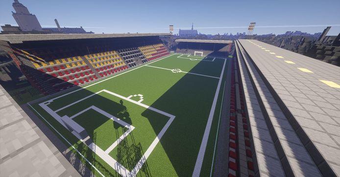 Screenshot van Happy Life, de Minecraft-server waar Deventer wordt nagebouwd. Hier stadion De Adelaarshorst.