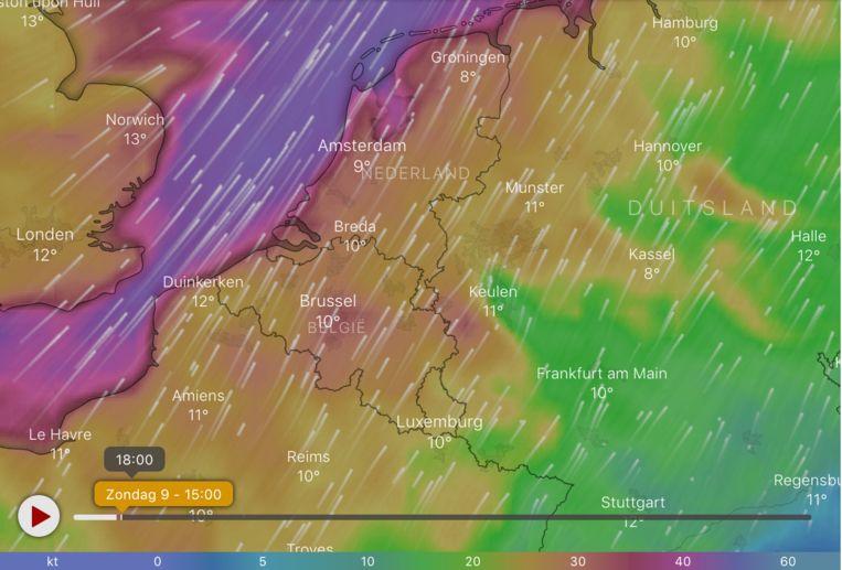 De verwachte windsnelheden om 15 uur.