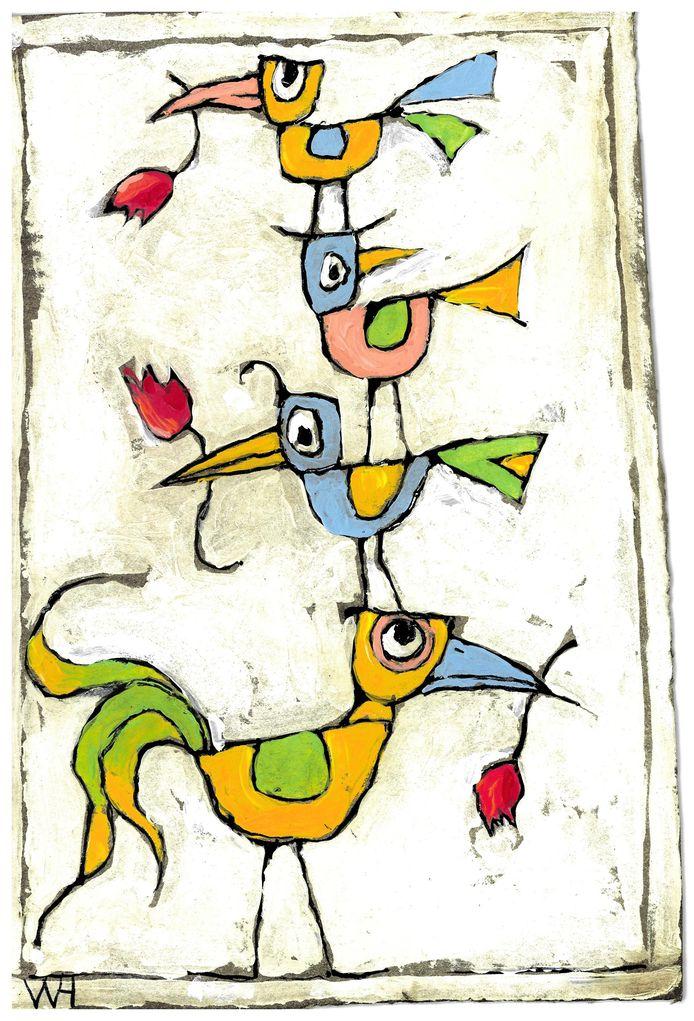 Vier vogeltjes op elkaar