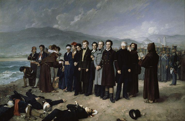 Antonio Gisbert Pérez (1834-1902): De executie van Torrijos en zijn compagnie op het strand van Málaga (1888) Beeld Prado, Madrid