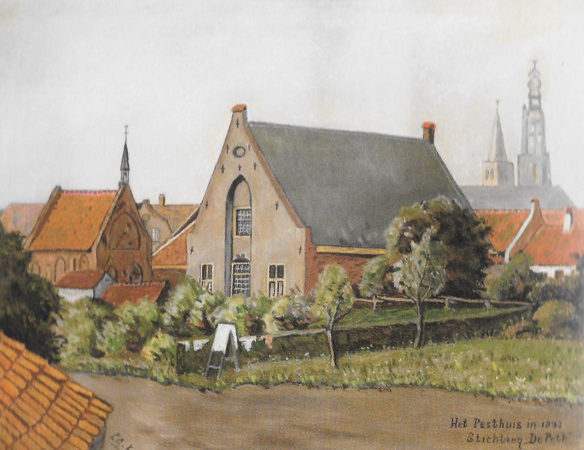 Het Pesthuis bij de Coninckstraat, kort voor de sloop in 1893.