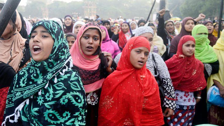 Moslima's in Calcutta protesteren eind vorig jaar tegen het streven van de Indiase regering om een einde te maken aan de eenzijdige flitsscheiding Beeld getty