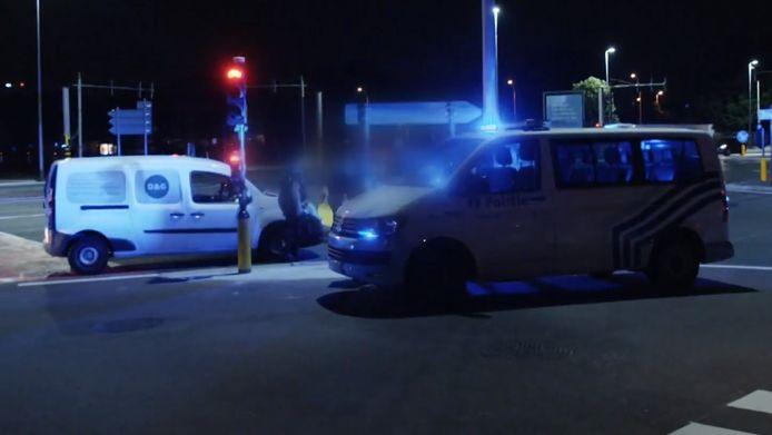 Op een kruispunt werd een man gearresteerd.