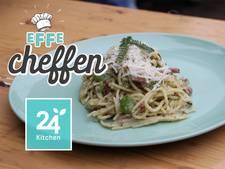 Spaghetti carbonara met wildpluk pesto