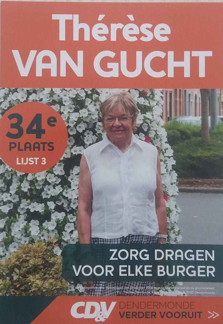 """De laatste verkiezingsaffiche van Thérèse Van Gucht. """"Het heeft jammer genoeg niet mogen zijn"""", zegt ze."""
