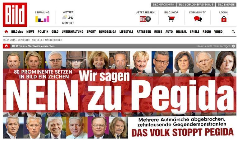 'Nein zu Pegida', staat vandaag op de voorpagina van BILD. Beeld BILD