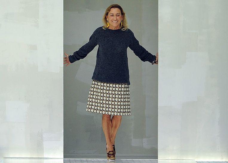 Miuccia Prada na afloop van één van haar modeshows.