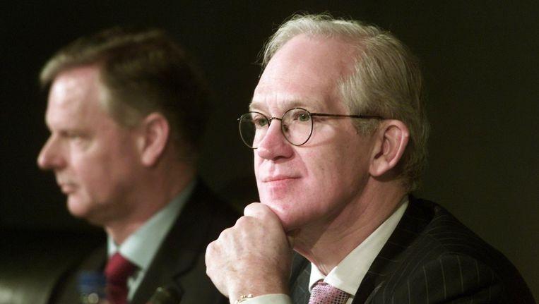 Cor Boonstra als Phillips-voorzitter in 2001. Op de achtergrond zijn opvolger Gerard Kleisterlee. Beeld null