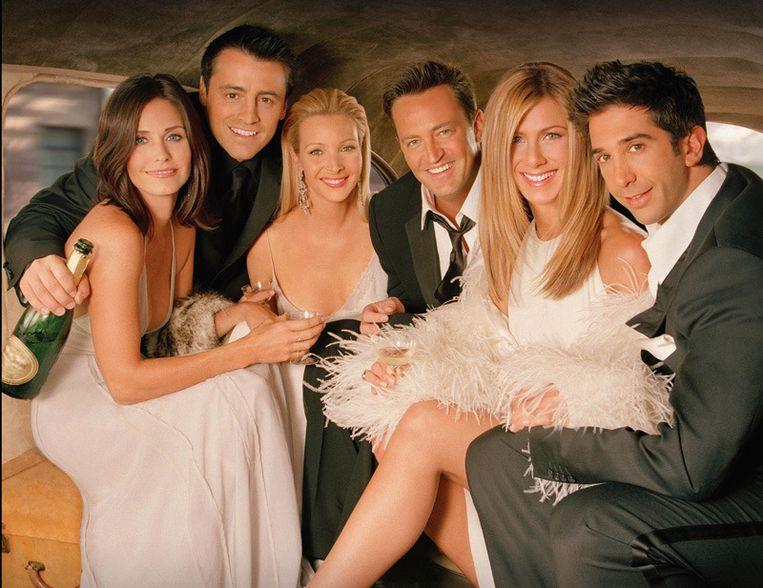 De 'Friends'-cast: Courteney Cox, Matt Le Blanc, Lisa Kudrow, Matthew Perry, Jennifer Aniston en David Schwimmer.