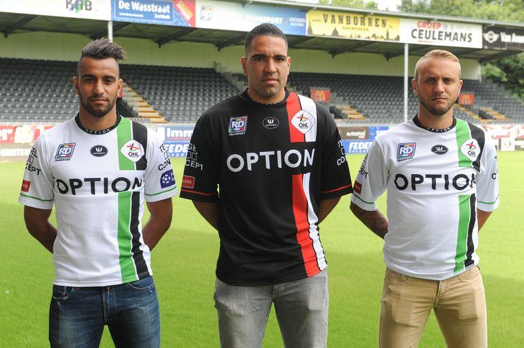 De drie aanwinsten van OHL: Pierre-Yves Ngawa (l), Romero Regales (m) en Jordan Remacle (r)