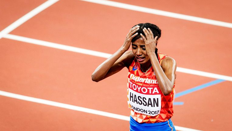 Sifan Hassan na het verlies. Beeld ANP