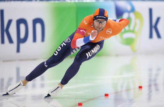 Thomas Krol, een van de Nederlandse winnaars dit weekeinde in Minsk, in actie op de door hem gewonnen 1000 meter.